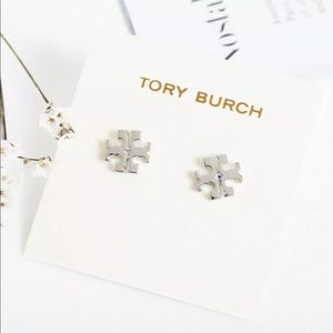 Tory Burch Silver Small Logo Earrings with Bag